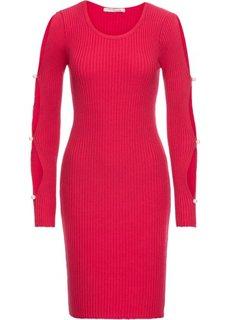 Платье с вырезами на рукавах (красный) Bonprix