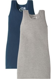 Платье (2 шт.) (темно-синий/светло-серый меланж) Bonprix