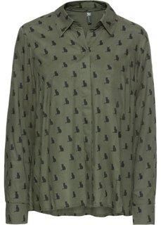 Блуза-рубашка (оливковый/черный с рисунком) Bonprix