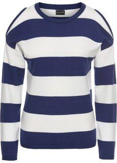 Пуловер в полоску с вырезами (ночная синь/белый) Bonprix