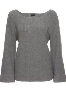 Пуловер с расклешенным рукавом (серый меланж) Bonprix
