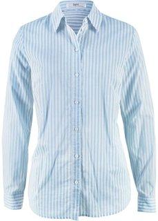 Блуза-рубашка с длинными рукавами (кремовый/синяя пудра в полоску) Bonprix