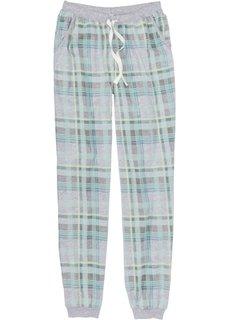 Пижамные брюки с эластичным поясом и манжетами (антрацитовый меланж/нежная мята в клетку) Bonprix