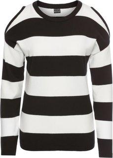 Пуловер в полоску с вырезами (черный/кремовый) Bonprix