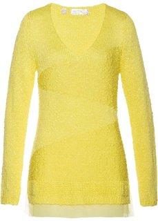 Пуловер с шифоновой вставкой (нежно-лимонный) Bonprix