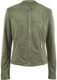 Куртка из искусственной замши (серо-зеленый) Bonprix