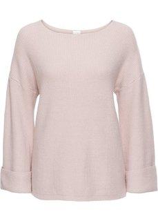 Пуловер с расклешенным рукавом (розовый) Bonprix