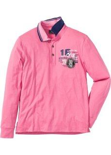 Рубашка поло Regular Fit с длинными рукавами (ярко-розовый) Bonprix