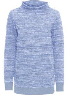 Удлиненная толстовка с карманами (синий меланж) Bonprix