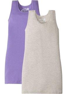 Платье (2 шт.) (натуральный меланж/нежно-лиловый) Bonprix