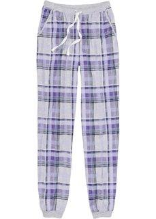 Пижамные брюки с эластичным поясом и манжетами (светло-серый меланж/сиреневый в клетку) Bonprix
