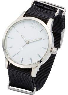 Часы на сменном текстильном ремешке (нежно-омаровый/черный/серебристый) Bonprix