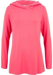 Футболка с длинными рукавами и капюшоном (ярко-розовый) Bonprix