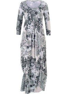 Трикотажное платье макси (черный/белый с узором) Bonprix