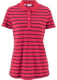 Футболка-поло с коротким рукавом, дизайн в полоску (красный/темно-синий) Bonprix