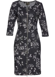 Джинсовое платье (черный с рисунком) Bonprix