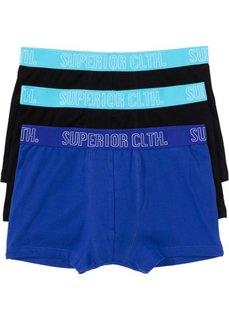 Трусы-боксеры (3 шт.) (черный/сапфирно-синий/карибский синий) Bonprix