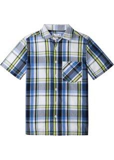 Рубашка с коротким рукавом и принтом (темно-синий/зеленый в клетку) Bonprix