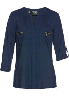 Блузка с воротником-стойкой (темно-синий) Bonprix