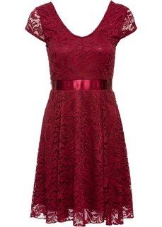 Трикотажное платье с кружевом (темно-бордовый) Bonprix