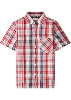 Рубашка с коротким рукавом и принтом (серый/темно-красный в клетку) Bonprix