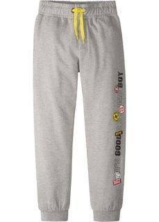 Трикотажные брюки с модным принтом (серый меланж) Bonprix