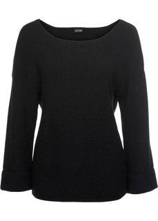 Пуловер с расклешенным рукавом (черный) Bonprix