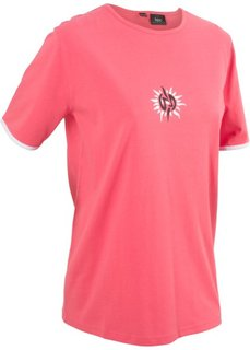 Футболка (нежный ярко-розовый/белый) Bonprix