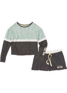 Пижама с шортами и длинным рукавом (антрацитовый меланж/мятный с рисунком) Bonprix
