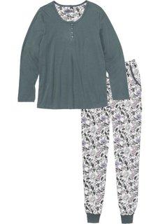 Пижама (эвкалиптовый зеленый/кремовый с принтом) Bonprix