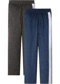 Брюки пижамные из трикотажа (2 шт.) (антрацитовый меланж/темно-синий) Bonprix