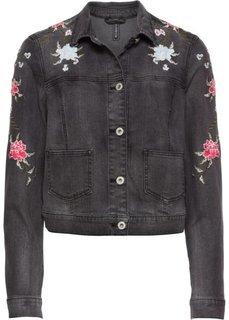 Куртка с вышивкой (черный деним) Bonprix