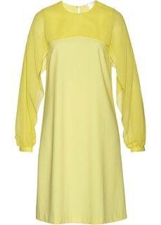 Платье с шифоновыми рукавами (нежно-лимонный) Bonprix