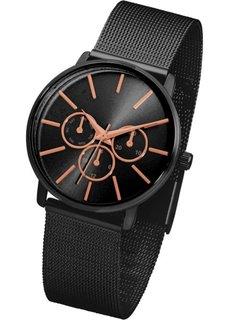 Часы с сетчатым браслетом (черный) Bonprix