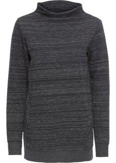 Удлиненная толстовка с карманами (черный/белый меланж) Bonprix