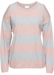 Пуловер в полоску с вырезами (винтажный розовый/серый меланж) Bonprix