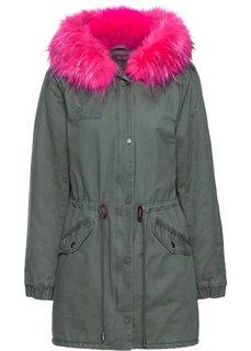 Куртка-парка (оливковый/ярко-розовый неон) Bonprix