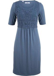 Платье с кружевной вставкой и коротким рукавом (индиго) Bonprix