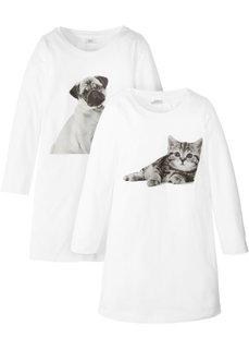 Ночная рубашка (2 шт.) (белый с рисунком) Bonprix