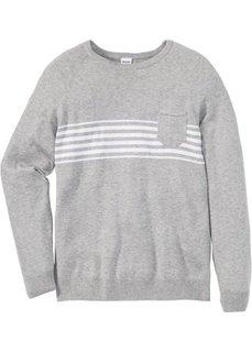 Пуловер Regular Fit с карманом (светло-серый меланж) Bonprix