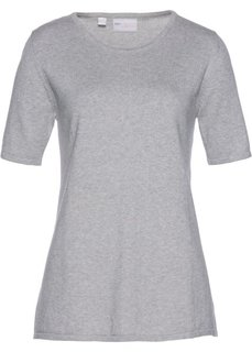Пуловер с коротким рукавом (светло-серый меланж) Bonprix