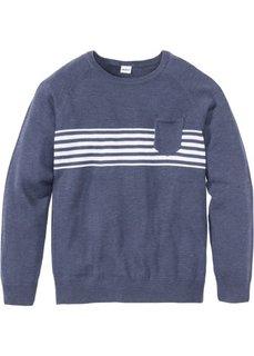 Пуловер Regular Fit с карманом (темно-синий меланж) Bonprix