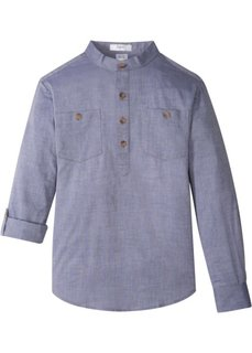 Рубашка с подворачиваемыми рукавами (меланжевый индиго) Bonprix