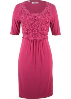 Платье с кружевной вставкой и коротким рукавом (ягодный) Bonprix