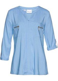 Блузка с воротником-стойкой (нежно-голубой) Bonprix