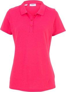 Футболка-поло с коротким рукавом (ярко-розовый) Bonprix