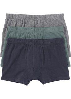 Трусы-боксеры (3 шт.) (серый меланж/зеленый/синий) Bonprix