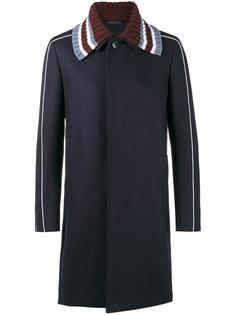 пальто с вязаным воротником Valentino