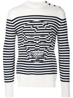 свитер Striped Skull  Alexander McQueen