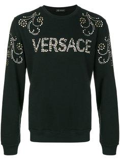 толстовка с логотипом из заклепок Versace